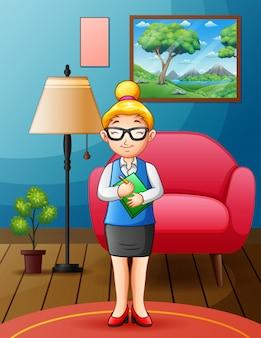 Une enseignante dans un salon