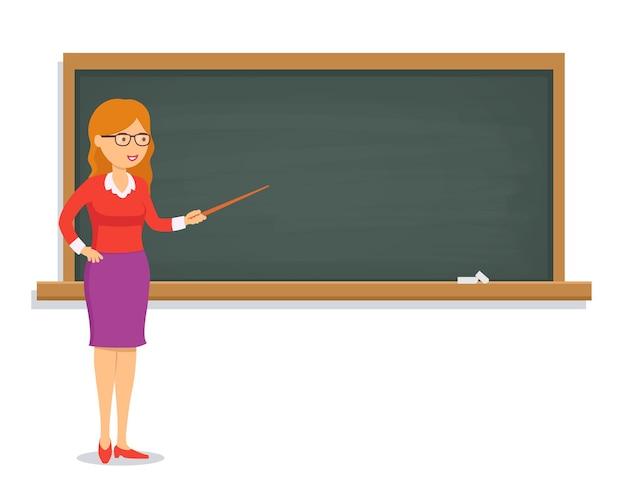 Enseignante donnant une leçon au tableau.