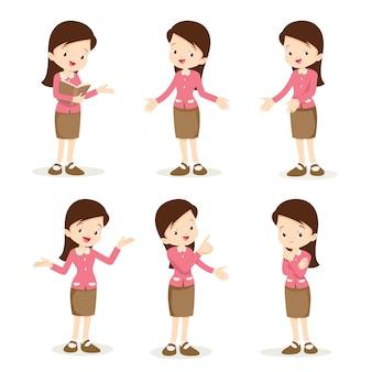 Enseignante femme diverses actions