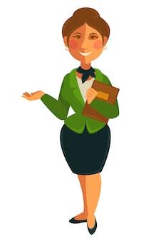 Enseignante femme d'icône plate isolé vecteur école profession profession