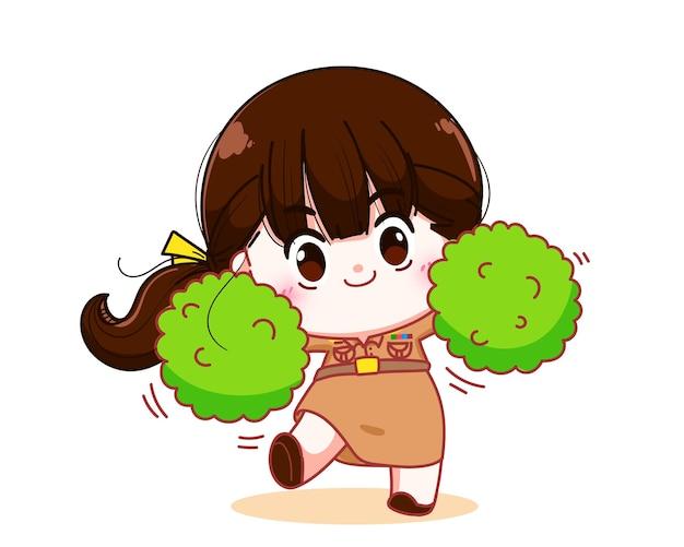 Enseignante heureuse en uniforme du gouvernement tenant une illustration d'art de dessin animé de personnage de pom poms colorés