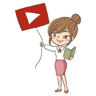 Enseignante tuteur tutorat en ligne youtuber logo tenant signe illustration mignonne clipart amusement