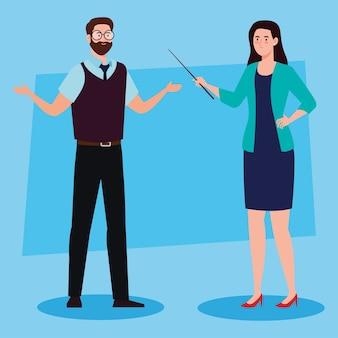 Enseignants de couple parlant, concept d'éducation