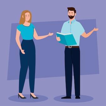 Enseignants de couple parlant, éducation conceptuelle