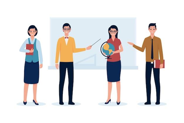 Enseignants, tenue, objets, mains
