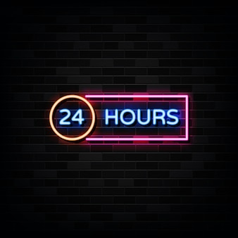 Enseigne au néon 24 heures