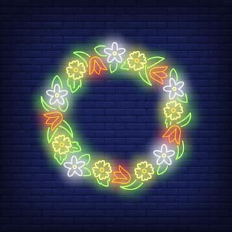 Enseigne au néon belle couronne de fleurs