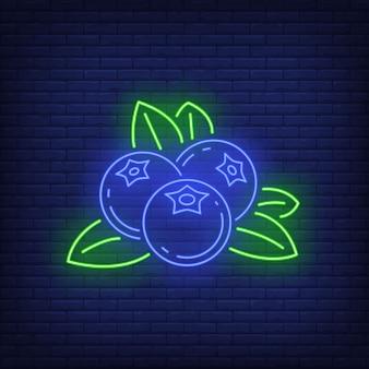 Enseigne au néon de bleuets.