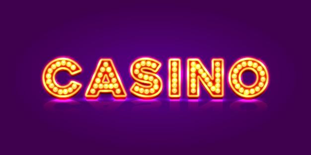 Enseigne au néon de casino, bannière de texte. illustration vectorielle