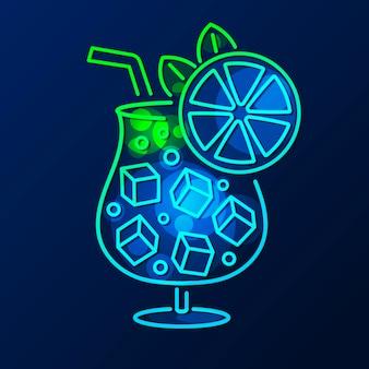 Enseigne au néon cocktail, enseigne lumineuse, bannière lumineuse. emblème de logo de cocktail
