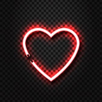 Enseigne au néon coeur réaliste
