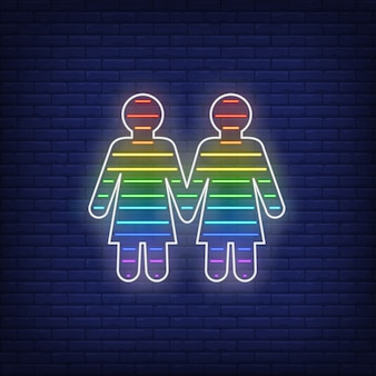 Enseigne au néon de couple lesbien