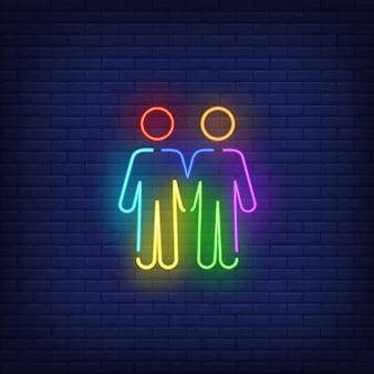 Enseigne au néon de couple masculin homosexuel