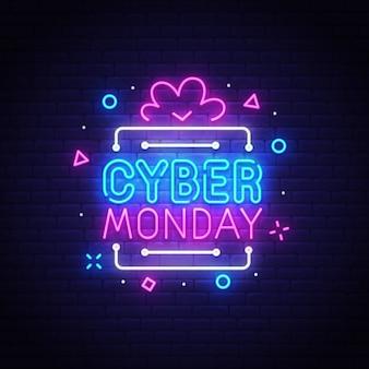 Enseigne au néon cyber monday
