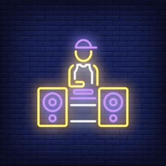 Enseigne au néon disc jockey