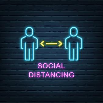 Enseigne au néon de distance sociale