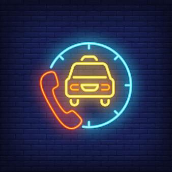 Enseigne au néon du service de commande de taxi
