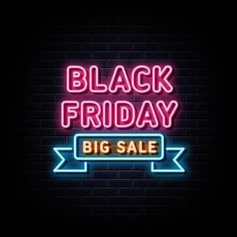 Enseigne au néon du vendredi noir grande vente