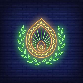 Enseigne au néon emblème abstrait. décor, logo.
