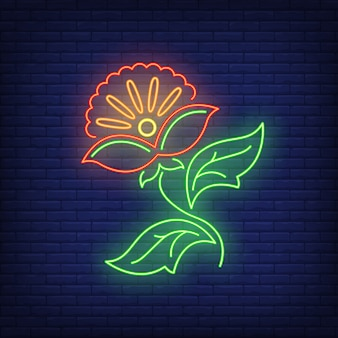 Enseigne au néon emblème de la fleur abstraite