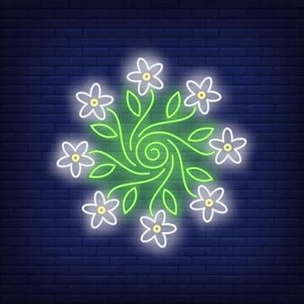 Enseigne au néon emblème fleur ornement rond