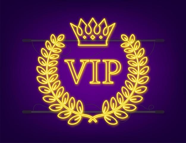 Enseigne au néon d'étiquette vip or sur fond noir. illustration vectorielle de stock.