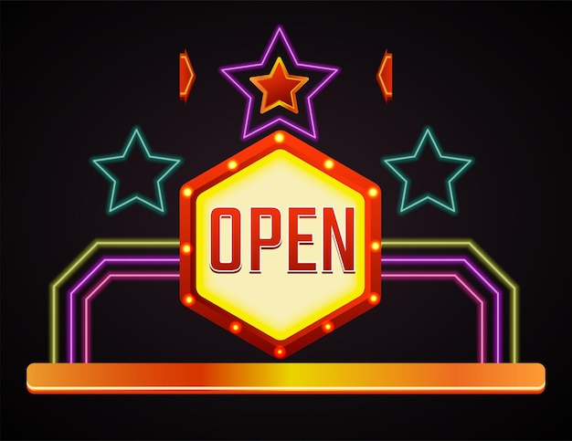 Enseigne au néon avec étoiles et lignes géométriques. bannière isolée, signe d'ouverture officielle. annonce décorative ou effet brillant pour club ou casino. étiquette ou emblème réaliste. vecteur dans un style plat