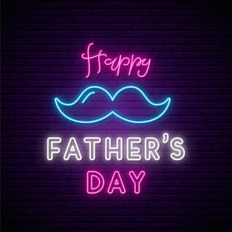 Enseigne au néon de la fête des pères, bannière lumineuse.