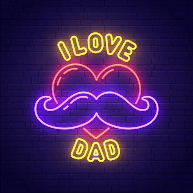 Enseigne au néon de la fête des pères