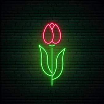 Enseigne au néon de fleur de tulipe rouge