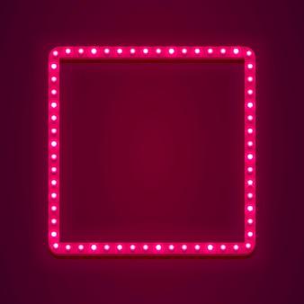 Enseigne au néon en forme de carré. élément de conception de modèle, illustration vectorielle