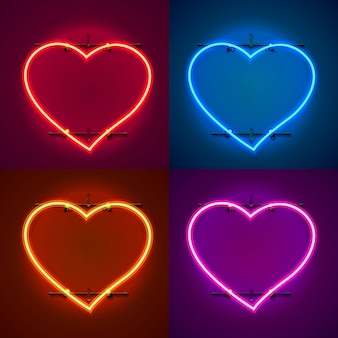 Enseigne au néon en forme de coeur. définir la couleur. élément de conception de modèle. illustration vectorielle