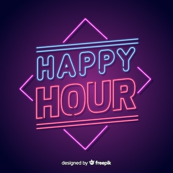 Enseigne au néon de happy hour brillante