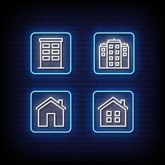 Enseigne au néon de l'immobilier sur mur de brique