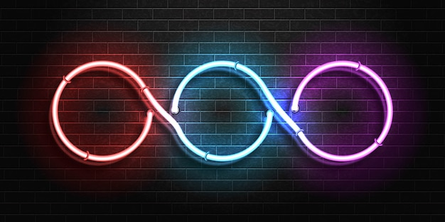 Enseigne au néon isolé réaliste du cadre de cercle