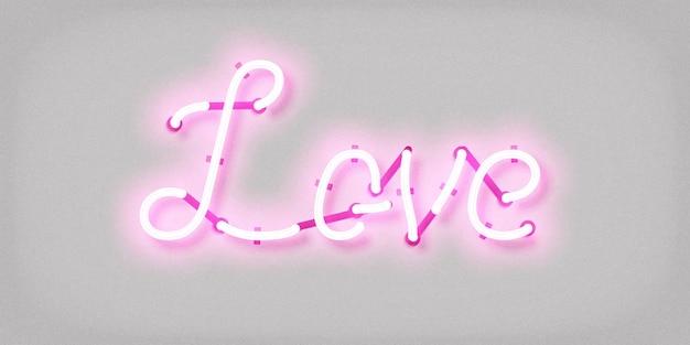 Enseigne au néon isolé réaliste du logo de l'amour