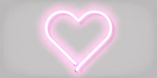 Enseigne au néon isolé réaliste du logo coeur
