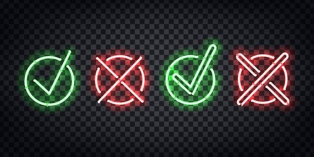 Enseigne au néon isolé réaliste du logo tick and cross pour la décoration et la couverture sur le fond transparent.