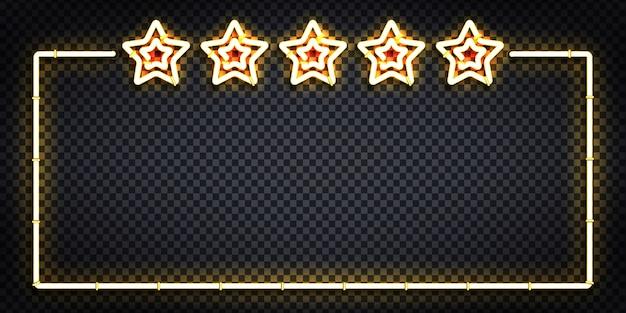 Enseigne au néon isolé réaliste de vecteur du logo de cadre de cinq étoiles pour la décoration et la couverture. concept de luxe, premium et vip.