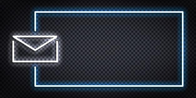 Enseigne au néon isolé réaliste de vecteur du logo de cadre de courrier pour la décoration de modèle et la couverture de mise en page