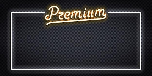 Enseigne au néon isolé réaliste de vecteur du logo du cadre premium