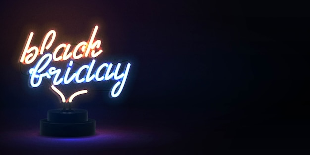Enseigne au néon isolé réaliste de vecteur de texte black friday