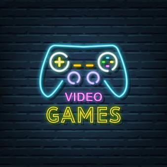 Enseigne au néon de jeux vidéo