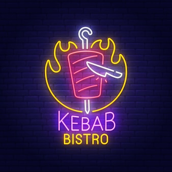 Enseigne au néon kebab bistro