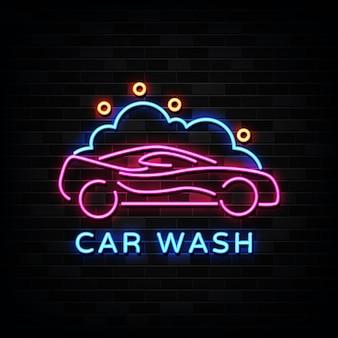 Enseigne au néon de lavage de voiture, néon