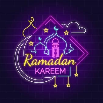 Enseigne au néon lettrage ramadan