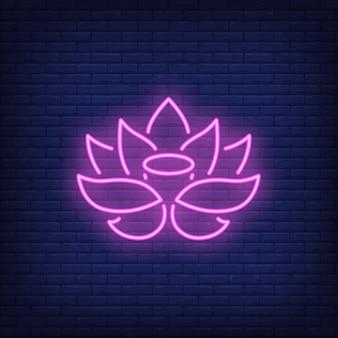 Enseigne au néon lotus rose