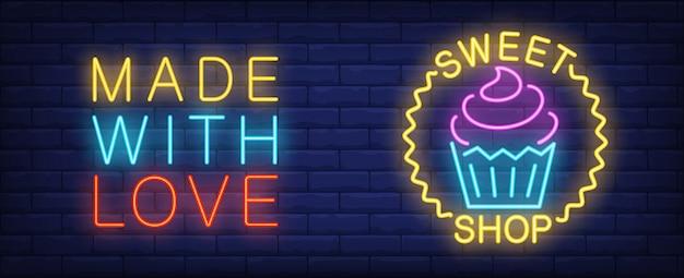 Enseigne au néon magasin de bonbons. cupcake et lumineux fait avec l'inscription de l'amour