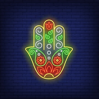 Enseigne au néon main fatima