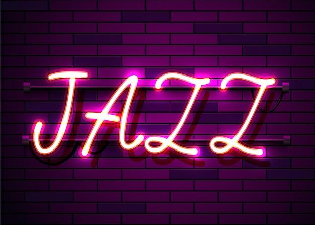 Enseigne au néon, le mot jazz sur un mur sombre.